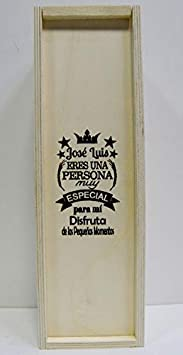 Caja de madera para 1 botella de vino, grabada para PERSONA ESPECIAL. Regalo grabado para aniversario o cumpleaños, para hombre o mujer, práctico y elegante para 1 botella de vino de su elección.