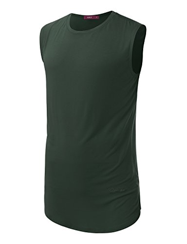 Doublju Mens Sleeveless Round Hemline Crewneck Long T-shirts With Bottom Logo , Green , XXX-Large (Logo Sleeveless T-shirt)
