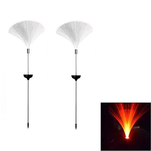 Adtop 2 Pcs Solar Fiber Optic Lawn Light Outdoor Ground Light, Garden Stake Lights Multi-Color Changing LED Path Lamp Decorative Lights