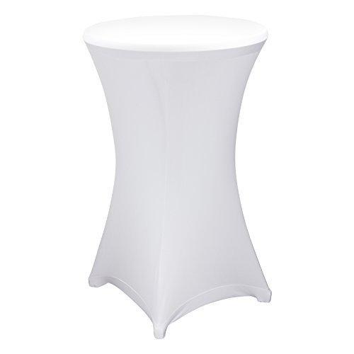 Husse Stehtischhusse Stretch Husse für Stehtisch Bistrotisch 70 cm in weiß