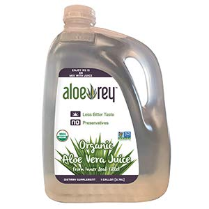 Aloe Rey Preservative-Free Organic 100% Inner-Fillet Aloe Vera Juice, 128 Ounce - Supports Healthy Digestion