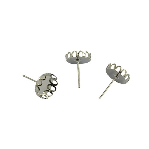 Dovewill 20 Pieces 10mm Round Bezel Blank Tray Cabochon Settings Stud Earrings Post DIY Crafts Jewelry Making - Silver ()