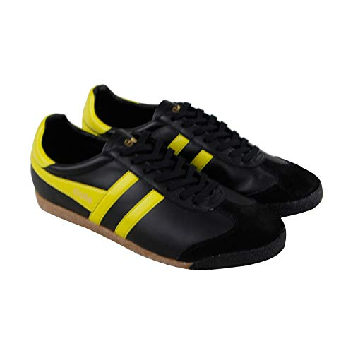 her Mens Black Leather Lace Up Sneakers Shoes 11 ()
