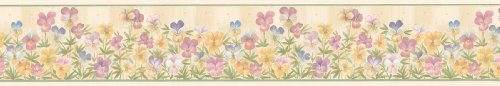 - Brewster Parkview Designs 260B03820 Small Florals and Miniatures Pansies Wall Border, 4.125-Inch by 180-Inch