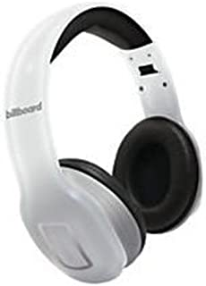 Billboard Bluetooth Wireless Folding Headphones With Enhanced Bass, Controls, and Microphone White