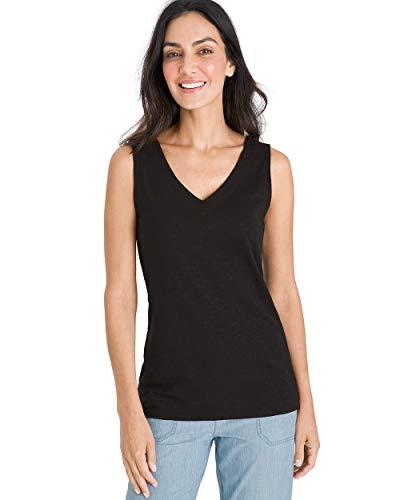 - Chico's Women's Cotton-Blend V-Neck Tank Size 4/6 S (0) Black
