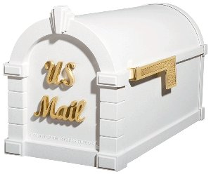 Gaines Keystone Signature Series Mailbox In White/Polished Brass