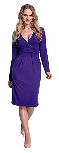 Glamour Empire De Las Mujeres Largo Manga Elástico Jersey Lápiz Vestido 285 Púrpura