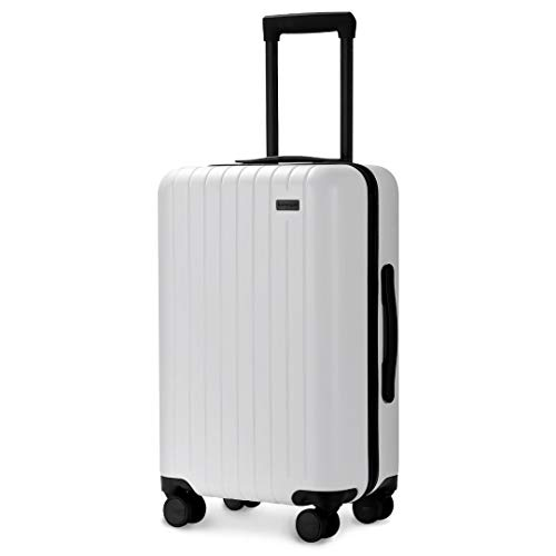White Polycarbonate Shell - GoPenguin Luggage, Carry On Luggage with Spinner Wheels, Hardshell Suitcase for Travel with Built in TSA Lock White
