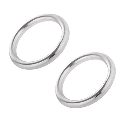 Jili Online 1 Pair 1'' - 2.4'' Dia. Smooth Welded Ring Precision Polished 304 Stainless Steel O Round Rings for Kayak Canoes Marine Shade Sail Boat Hammock Yoga - 5 x 35mm