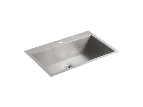Large Single Kitchen Sink (KOHLER K-3821-1-NA Vault Large Single Kitchen Sink with Single-Hole Faucet Drilling)