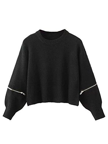 Joeoy Women's Black Zippered Long Sleeve Cropped Knit Sweater Jumper-ONESIZE