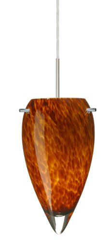 Besa Lighting 1JT-412518-SN 1X100W A19 Juli Pendant with Amber Cloud Glass, Satin Nickel Finish