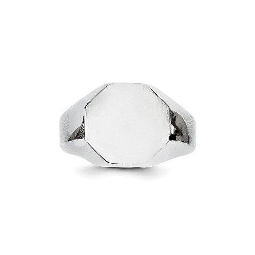 Octagonal Signet Ring - 14k White Gold Engravable Octagonal Men's Signet Ring