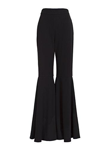 Modern Flare Pants (Kinikiss Women's Black Flare Pants Slim Pleated Full Length Bellbottoms With Side Zipper)