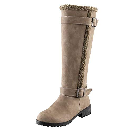 Time Dakota Tool - LandFox Shoes, Originals Winter Warm Snow Boot,Women Casual Comfortable Warm Plush Winter Knee High Boots Brown