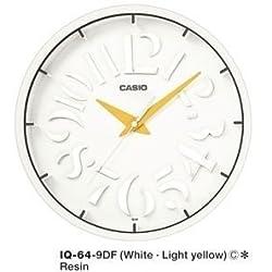Casio White Modern Stylish Wall Clock Analog IQ-64 (White/Yellow Markers)