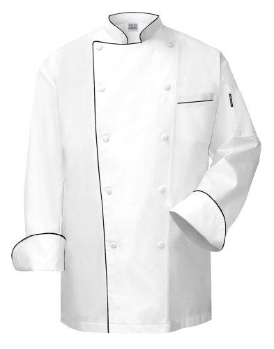 Shirt Trim Chef (Newchef Fashion VIP White Chef Coat with Black Trim VIP Pocket XL White)
