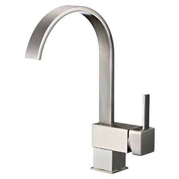 Yodel Swivel Head Modern Kitchen / Wet Bar Sink Faucet, Brushed Nickel