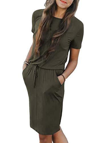 Chunoy Women's Summer Short Sleeve O Neck Pocket Solid Loose Casual Dress Hunter Green Small ()