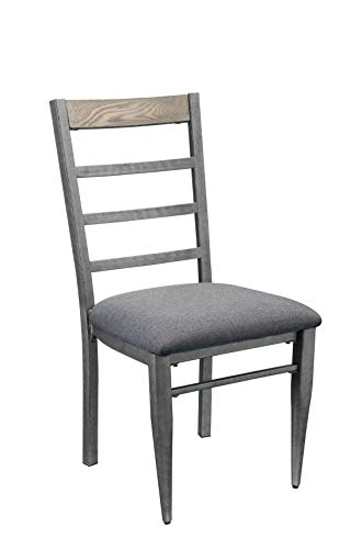 HomeRoots Furniture Side Chair - Set of 2 in Gray Fabric and Antique Gray - Polyester, Ash Wood Veneer, MDF, Steel (318917)