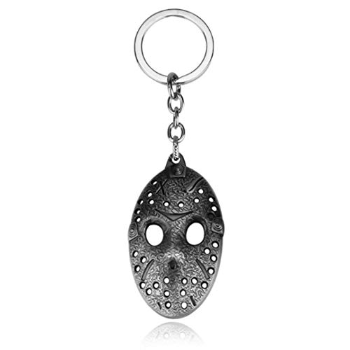 Dan's Collectibles and More Jason Friday The 13th Keychain Key Chain Hockey Mask Halloween Horror Movie Killer Pendant w/Gift Box (SilverMask) -