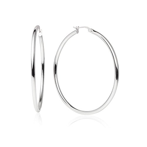 (LOVVE Sterling Silver High Polished Round-Tube Click-Top Hoop Earrings, 2x45mm)