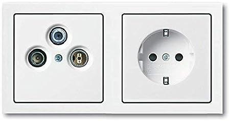Busch Jäger Completo/Antennensteckdosen-Einsatz Radio/TV / Sat (**) Wisi + Doble Marco y Cubierta Incl. 1 X Enchufe 20 EUC-84 en Futuro Linear Blanco ...