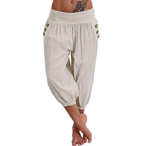 (vermers Women Trousers Women Elastic Waist Boho Check Pants Baggy Wide Leg Summer Casual Yoga Capris(S, y-Beige))