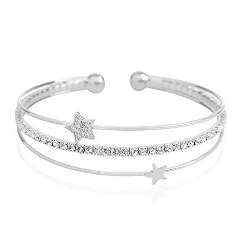 RIAH FASHION Sparkly Rhinestone Bridal Wedding Statement Bracelet - Cubic Zirconia Crystal Stretch Criss Cross/Adjustable Wrist Band Cuff/Hinge Bangle (Pave Star - Silver)