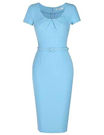 MUXXN Women's 1950s Vintage Short Sleeve Pleated Pencil Dress - - Small