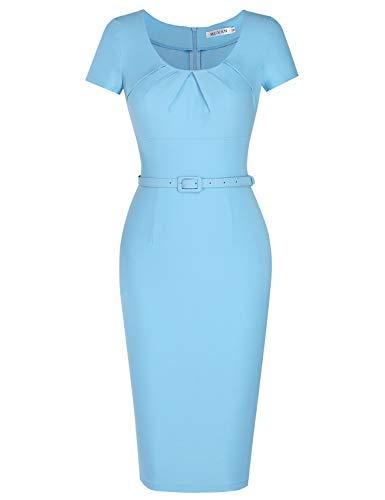 MUXXN Women's Elegant Ruched Scoop Neck Sheath Bridesmaid Summer Dress (Airy Blue S)