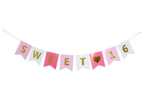 GOER Sweet 16 Birthday Banner Gold Pink Glitter,16th