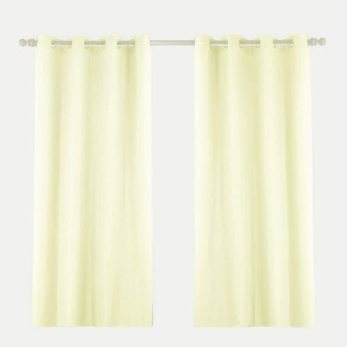 R.LANG Solid Grommet Top Faux Linen Window Panels for Livingroom 1 Pair Ivory 52 W X 108 L Set of 2 Panels