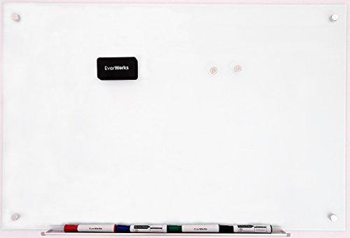 Modern Magnetic Frameless White Dry Erase Glass Board Set 23 5/8