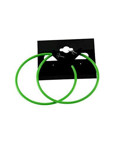 Neon Hoop Earrings (Zac's Alter Ego Women's Plastic Hoop Stud Earrings For Fancy Dress - 80S/ Pop/ Clubbers 6.5Cm Diameter Lime Green)