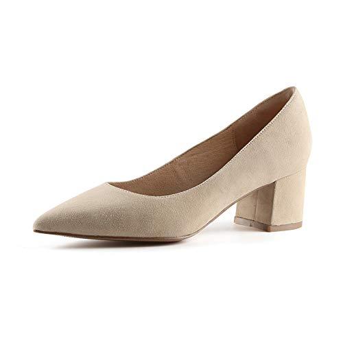 sólido con de de pies de Color Las Punta los de de Alto Tacones Mujeres 431 Gamuza Punta Bloque tacón Zapatos wUBnOTRqx