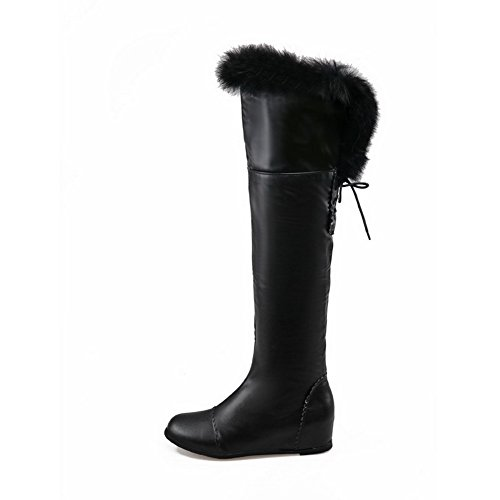 Materials knot Round Blend Black Solid Boots Closed Toe Women's Allhqfashion p46ZEW
