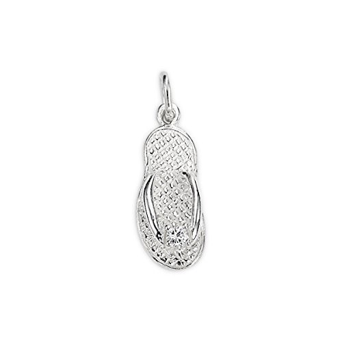 Sterling Silver Flip Flop Charm With 3mm Cubic (Accent Flip Flop Charm)