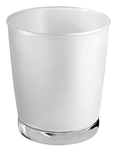 mDesign Decorative Round Small Trash Can Wastebasket, Garbage Container Bin for Bathrooms, Powder Rooms, Kitchens, Home Offices - Frosted Clear Plastic with Polished Chrome (Chrome Round Wastebasket)