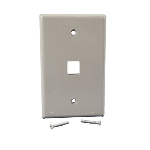 Cooper Wiring Devices 5510GY-MSP 1 Port Flush Modular Wallplate, Gray