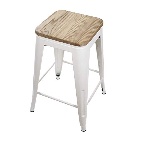 GIA Toolix Backless Stool with Wooden Seat, White/Light Wood, 24-Inch