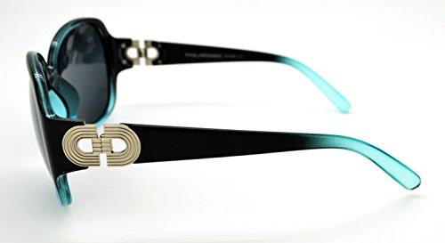 Vox polarisées tendance classique haute qualité pour femme Mode Hot Lunettes de soleil W/étui microfibre gratuit Black/Blue Frame - Smoke Lens