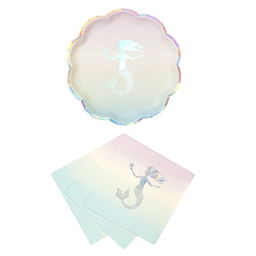 Talking Tables We Heart Mermaids Party Bundle For Theme Birthdays, Bridal Showers, Parties | Paper Plates & Luncheon Napkins ()