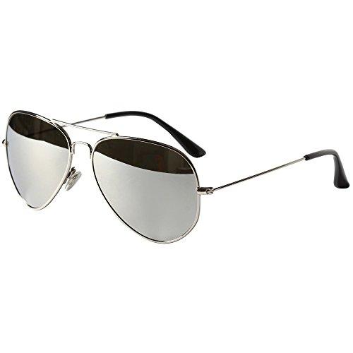 Aviator Sunglasses for Women Metal Frame Sun Glasses Men Lightweight (Silver Frame Small)