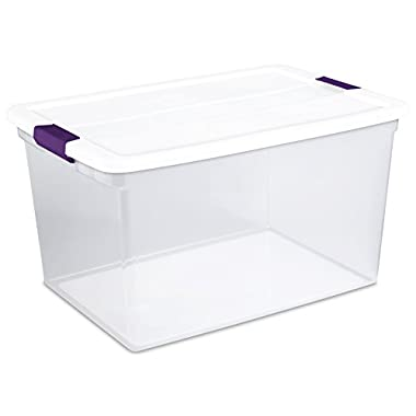 Sterilite 17578006 66 Quart/62 Liter ClearView Latch Box, White, 6-Pack