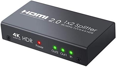 Neoteck HDMI 2.0 Splitter 4K 2 Vías 4K @60Hz YUV 4:4:4 HDR 1 en