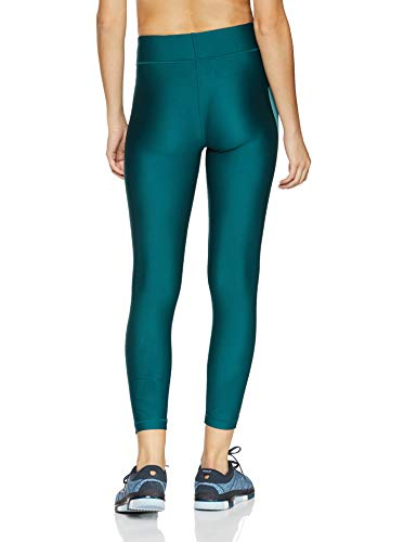 Under Armour Women's HeatGear Armour Branded Ankle Crop, Tourmaline Teal (716)/Metallic Silver, Small by Under Armour (Image #2)