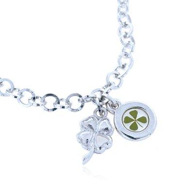 Clover Leaf Charm Shamrock - Stainless Steel Real Irish Four (4) Leaf Clover Shamrock Round Charm Bracelet