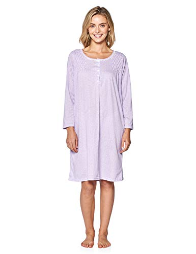 (Casual Nights Women's Stars Pintucked Long Sleeve Nightgown - Purple - XX-Large)